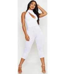 high neck cut out jumpsuit, white