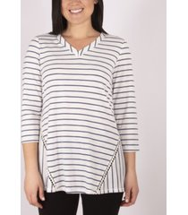 ny collection 3/4 sleeve v-neck top