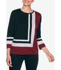 alfred dunner women's plus size madison avenue colorblock sweater