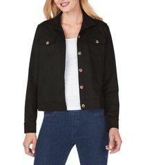 women's foxcroft getaway faux suede jacket, size 12 - black