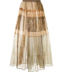 uma wang rustic print maxi skirt - brown