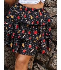 minifalda de gasa con gradas con estampado floral diseño