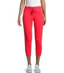 dkny sport women's logo drawstring cropped pants - radiant red - size xl