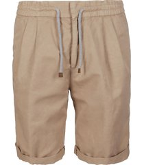 brunello cucinelli beige linen-cotton blend shorts