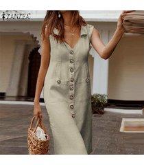 zanzea vestido sin mangas con cuello en v y escote redondo sin mangas para mujer vestido largo tallas grandes -caqui