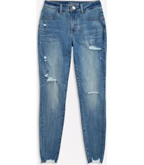 maurices womens high rise medium wash destructed jegging made with repreve blue