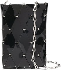 paco rabanne diamond-pattern pierced shoulder bag - black