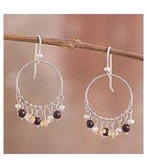 multi-gemstone dangle earrings, 'festive array' (peru)