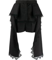 alexander mcqueen lace trim draped shorts - black