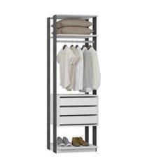 closet 3 gavetas 1 cabideiro branco e espresso lilies móveis