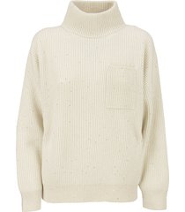 brunello cucinelli high neck cashmere and wool rib sweater