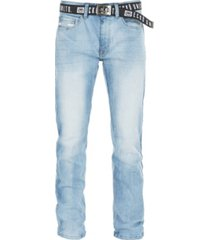 ecko unltd men's stretch new belt rhino buckle denim pant
