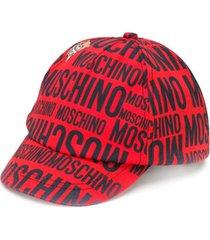 moschino kids chapéu teddy bear com estampa de logo - vermelho