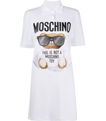 moschino teddy-bear print t-shirt dress - white