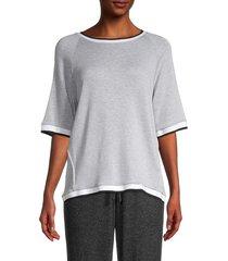 donna karan sleepwear women's two-tone knit top - grey heather - size m