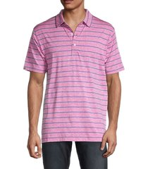 dunning golf men's striped short-sleeve polo - canal heather - size xl