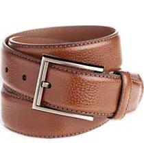 men's wearhouse brown leather stitch edged belt