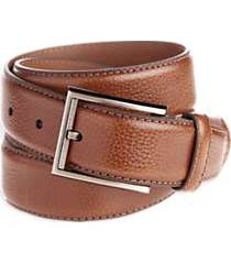 men's wearhouse brown leather stitch edged belt