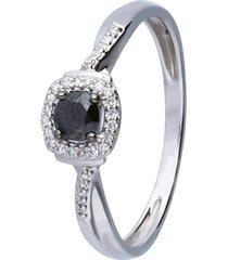 anello in oro bianco con diamanti bianchi e neri 0,065 ct per donna