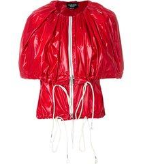 calvin klein 205w39nyc zip-up cape jacket - red