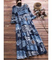 o-newe donna vintage mxi-abito con stampa con collo tondo