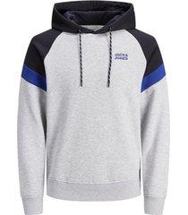 sweater jack & jones 12174742 jjpoul sweat hood light grey mela/new light