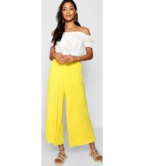 basic jersey wide leg culottes, bright yellow