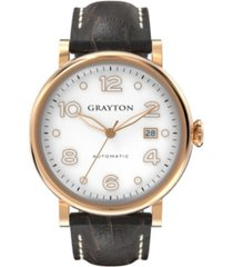 grayton men's classic collection brown crocodile-embossed leather strap watch 44mm