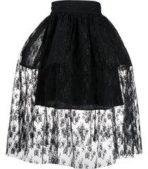 christopher kane lace full skirt - black