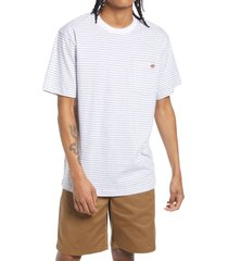 men's dickies clean utility core stripe pocket t-shirt, size small - white