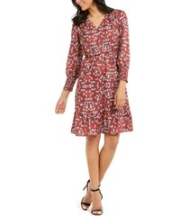 ny collection petite printed smocked-sleeve dress