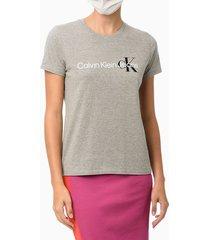 blusa feminina logo centralizado no peito cinza mescla calvin klein - pp
