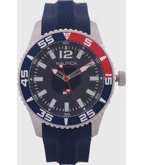 reloj azul navy-plateado nautica