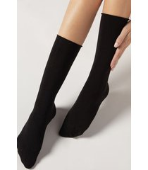 calzedonia women's smooth cotton mid-calf socks woman black size tu