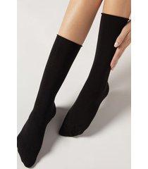 calzedonia women's smooth cotton mid-calf socks woman black size tu