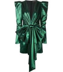 alexandre vauthier v-neck peplum dress - green