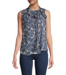 tommy hilfiger women's front tie printed blouse - blue - size xs