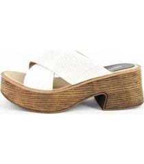 sandalia de cuero blanca euro confort