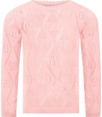 gucci pink sweater for girl with double gg