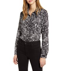 women's halogen long sleeve woven shirt, size x-large - grey