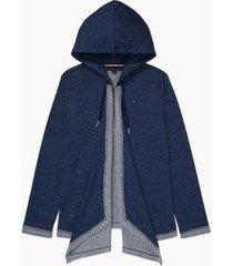 tommy hilfiger women's essential flyaway hoodie indigo - m