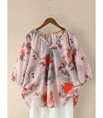 camicetta casual da donna con intaglio collo stampato a fiori vintage