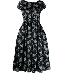 dolce & gabbana floral-print mid-length dress - black