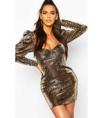 metallic leopard print puff sleeve mini dress, brown