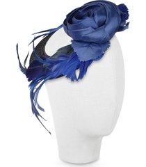 nana' designer women's hats, alba - night blue flower feather hat disc