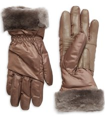 ugg women's shearling-trim leather-palm gloves - stormy grey - size s/m