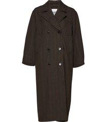 suiting coat dunne lange jas bruin ganni