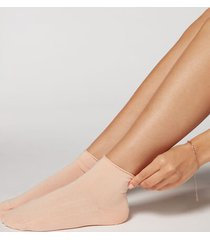 calzedonia cuffless short socks in cotton woman pale pink size tu