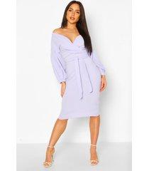 off the shoulder wrap midi bodycon dress, lavender
