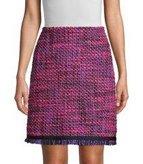 escada women's ruge multi-tweed a-line skirt - amethyst - size 42 (12)